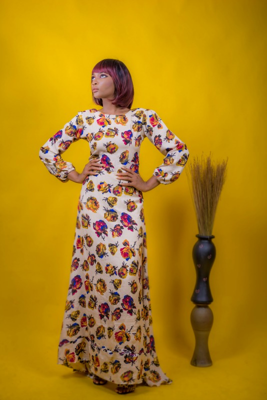 Thia Floral Maxi Dress on arewa fashion