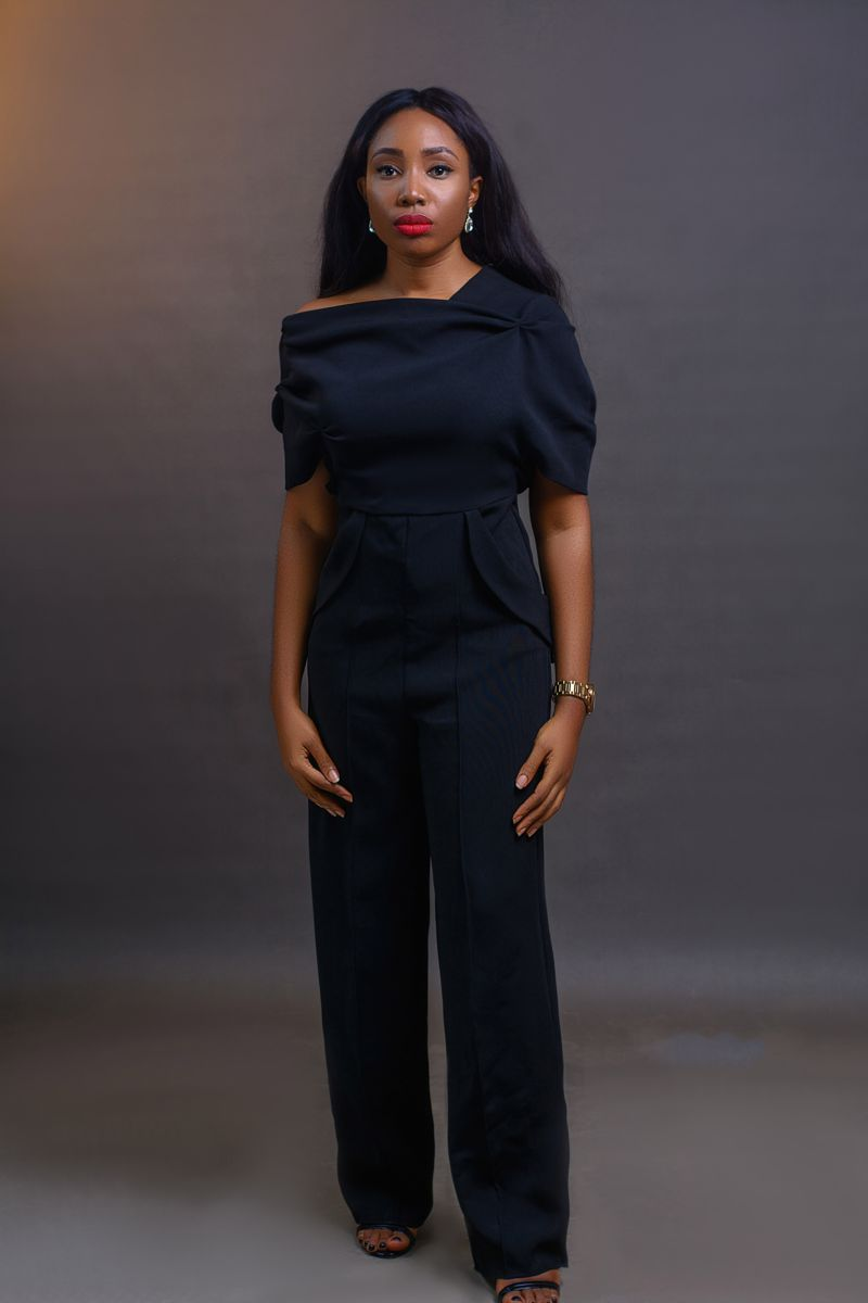 Drape Jumpsuit - Black on arewa fashion