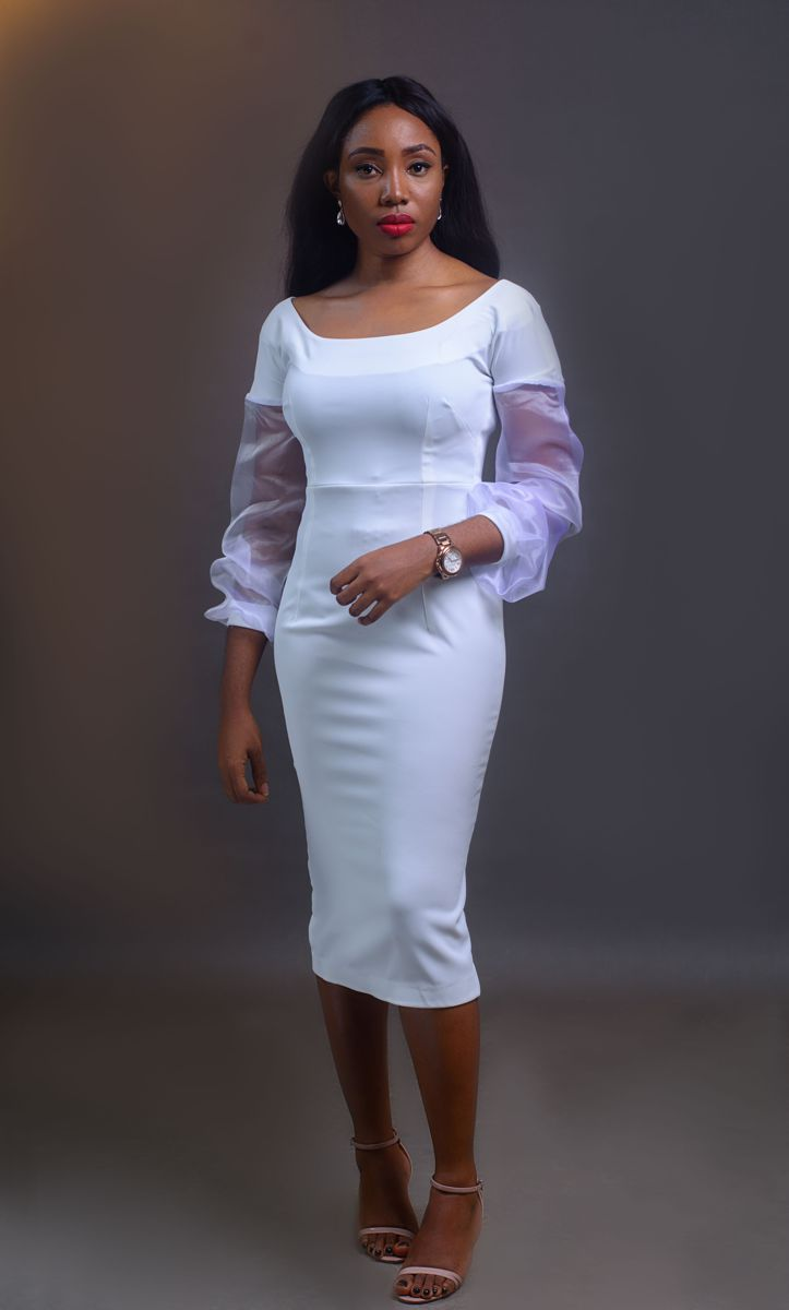 Bell sleeve Dress - White on arewa fashion