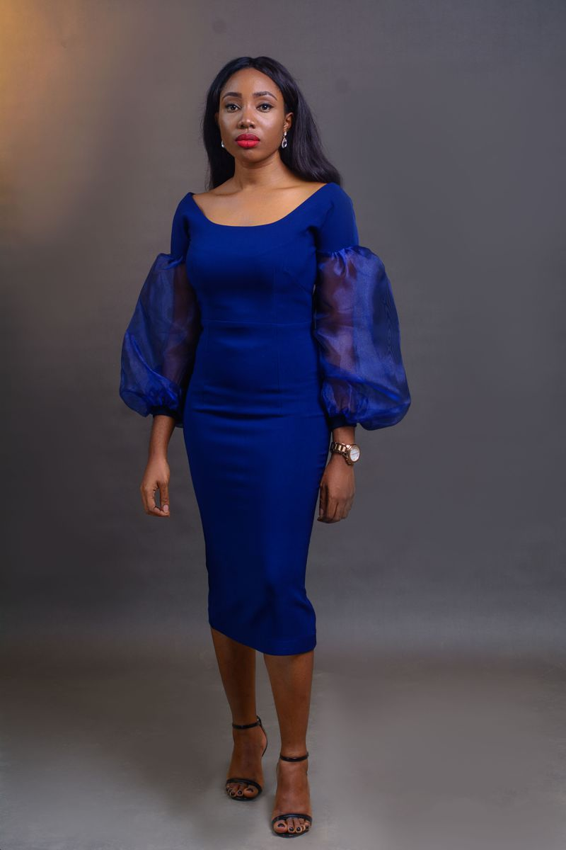 Bell sleeve Dress - Blue on arewa fashion