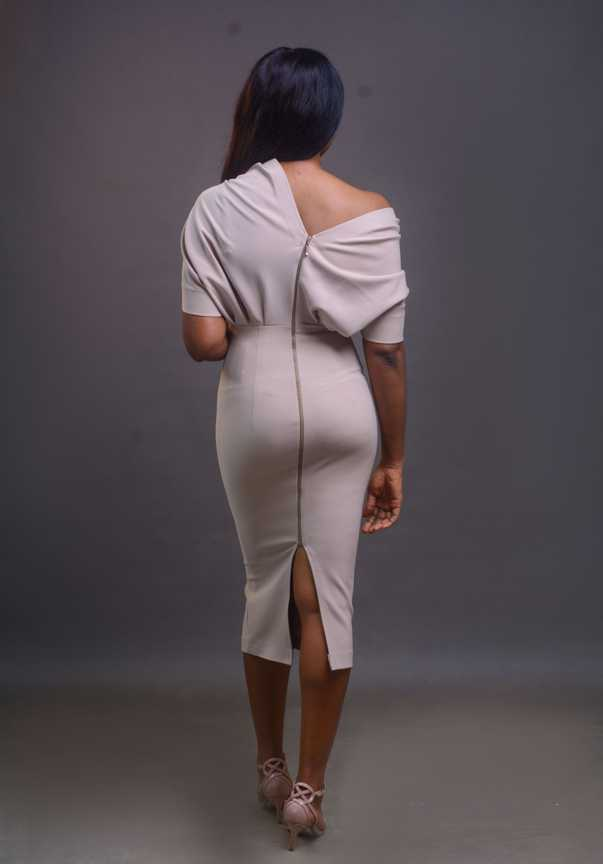 Drape Dress - Beige on arewa fashion