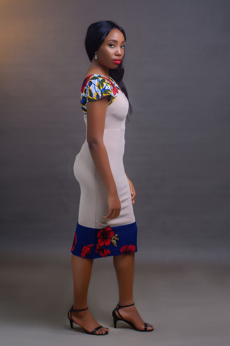 Block Dress - Biege on arewa fashion